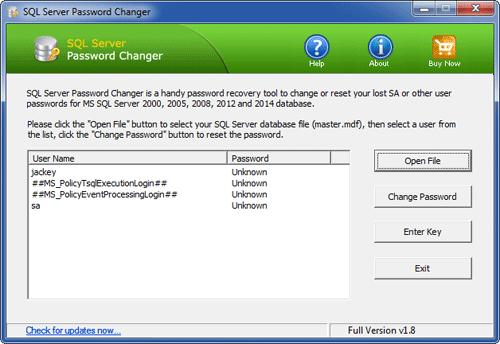 sql server password recovery